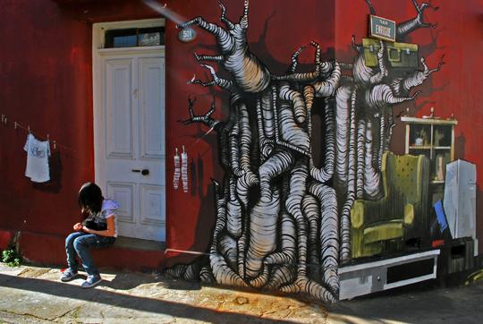 Valpo compte de nombreux graffiti aussi réussis que celui-ci