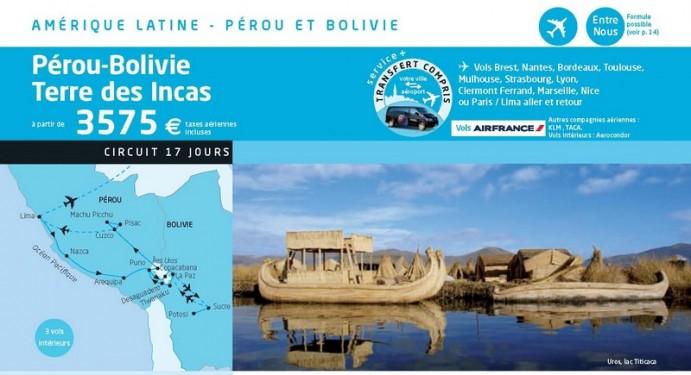 """Un exemple parmi bien d'autres de catalogue touristique proposant de découvrir la """"terre des Incas"""""""