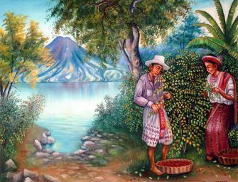 Peinture de Juan Sisay, de l'école artistique du lac Atitlán.