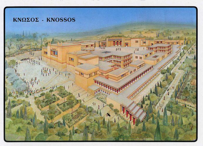 Vue d'ensemble du site de Cnossos (reconstitution).