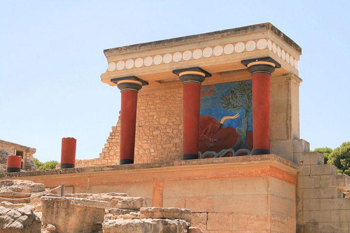 Civilisation minoenne. Vue d'une fresque de Cnossos.