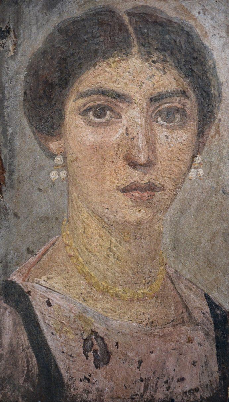 Portrait de femme, vers 120 à 150. Peinture à l'encaustique sur bois de sycomore. Liebieghaus, Francfort-sur-le-Main (Allemagne).