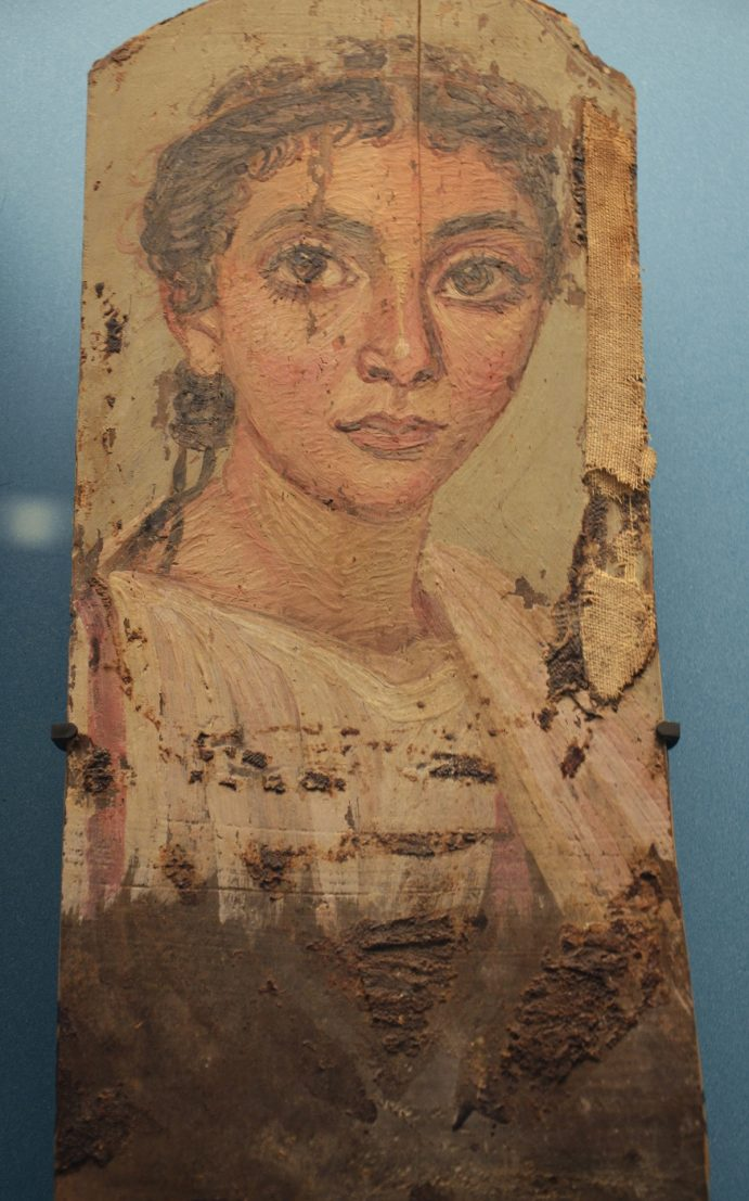 Portrait d'une femme sur panneau de bois, vers 150, Musée national du Danemark, Copenhague.